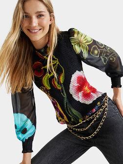 Loose blouse floral sleeves - 1