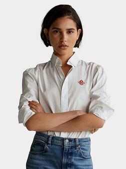 Памучна риза с бродерия - 1