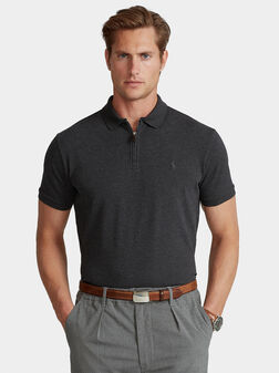 Grey polo-shirt with zip - 1