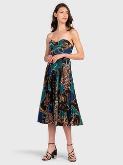 Плисирана рокля с принт - 1
