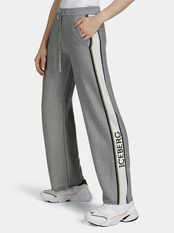 Сив панталон с лурекс нишки - 1
