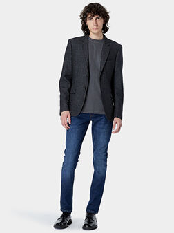 Wool jacket with leather elbow patches - 1