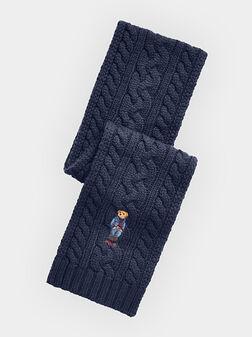 Син плетен шал с Polo Bear бродерия - 1