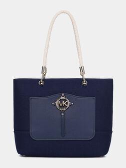 Чанта от канава AMY в син цвят - 1
