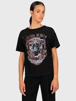 Cotton printed t-shirt with rhinestones - 1