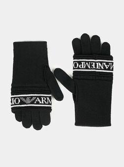 Плетени ръкавици с лого надпис - 1