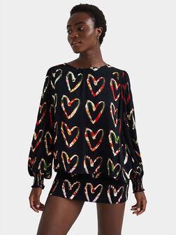 Loose crepe hearts blouse - 1