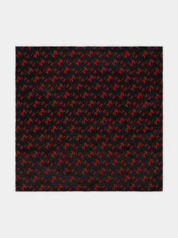 Black handkerchief with floral embroidery - 1