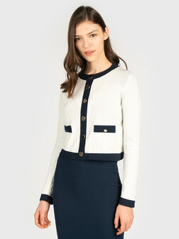 Blue cardigan with contrasting details - 1