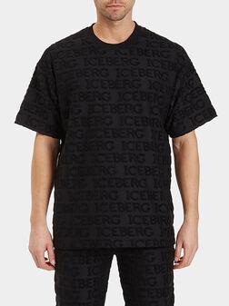 Черна тениска с лого детайли - 1