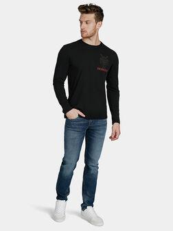 Черна блуза с контрастни елементи - 1