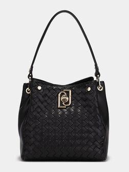 Чанта в черен цвят с акцентни лого детайли - 1