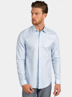 Памучна риза в бледо син цвят - 1
