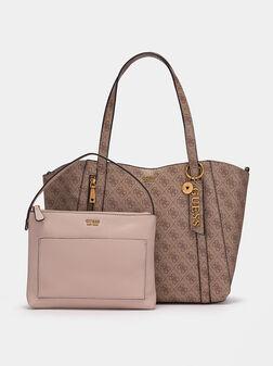 Шопър чанта с монограмен лого принт - 1