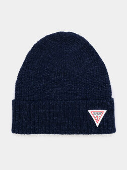 Комплект шапка и шал в син цвят - 1