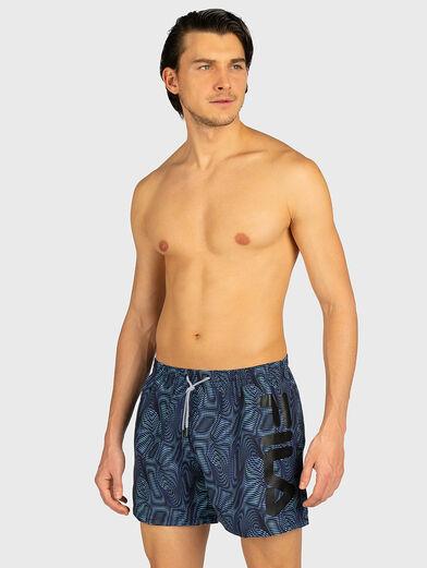 Beach shorts with logo inscription - 1