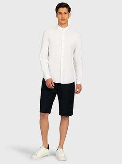 Бяла риза от лен и памук - 1