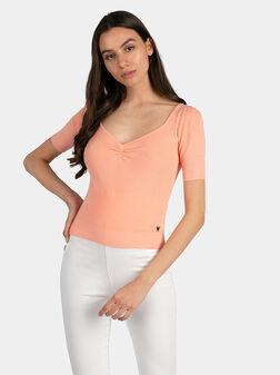 Пуловер ERICA в прасковен цвят - 1