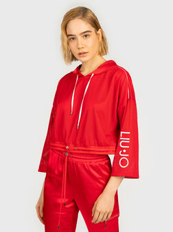 Cropped sweatshirt in red color - 1