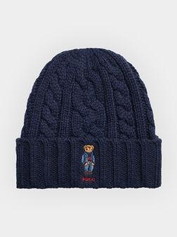 Плетена шапка в син цвят с Polo Bear лого - 1