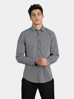 Риза с геометричен микро принт - 1