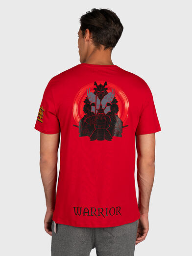 Red T-shirt with contrasting prints - 3