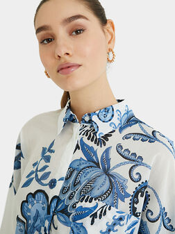 Памучна риза INARA с флорален принт - 1