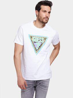 Бяла тениска с лого принт - 1