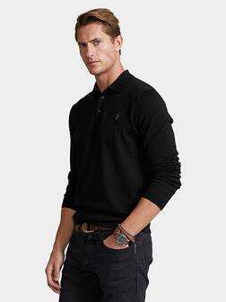 Black merino wool polo shirt - 1