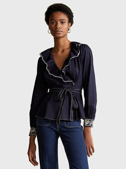 Cotton wrap blouse with embroideries - 1