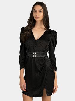 Черна рокля от сатен MAURIZIA - 1