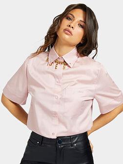 Памучна риза GILBERTA в розов цвят - 1