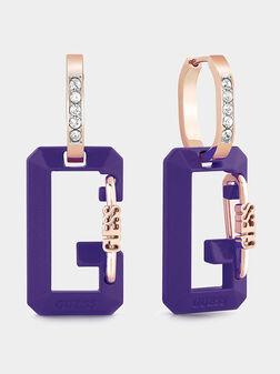 Earrings with logo detail in purple  - 1