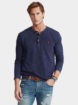 Памучна блуза с овално деколте - 1