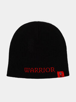 Плетена шапка с лого принт - 1