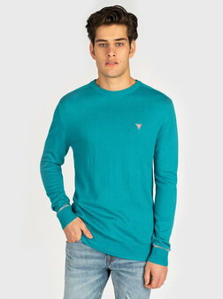Пуловер с триъгълно лого в цвят тюркоаз - 1