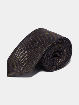 Black silk tie with print - 1