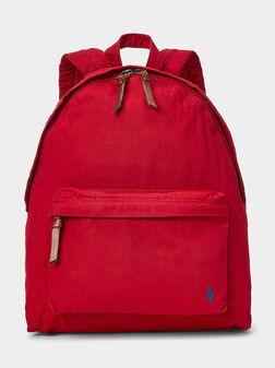 Памучна раница в червен цвят - 1