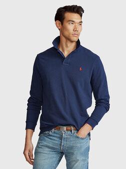 Блуза с яка и лого бродерия - 1