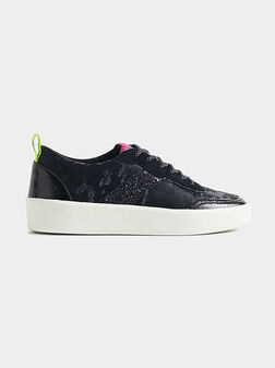 Black sneakers with glitter inserts - 1
