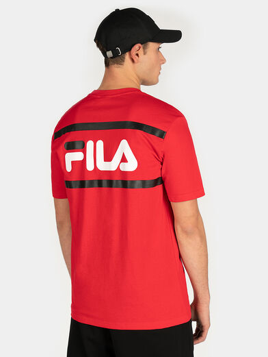 Red T-shirt with maxi logo print - 2
