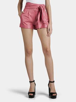 Кожени къси панталони с висока талия - 1