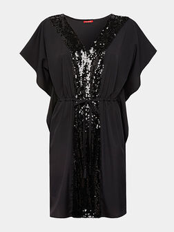 Плажно пончо в черен цвят с пайети - 1
