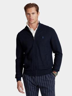 Blue cardigan with logo - 1