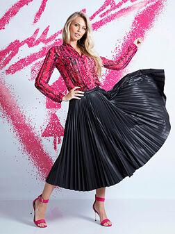 RAMONA Faux leather pleated skirt - 1