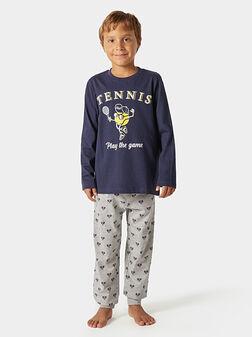 Памучна пижама с принт - 1