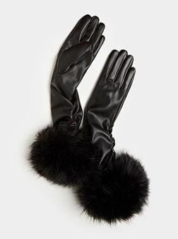 Дълги ръкавици с детайл от еко косъм - 1