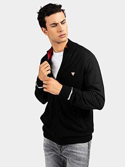 Black cardigan with triangle logo - 1