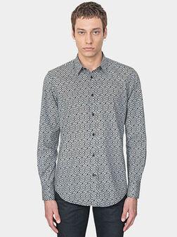 Памучна риза с флорален принт - 1