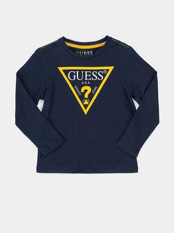 Памучна блуза CORE в син цвят - 1